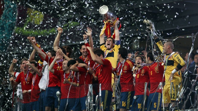 Spain lift the trophy after beating Italy in the Euro 2012 final
