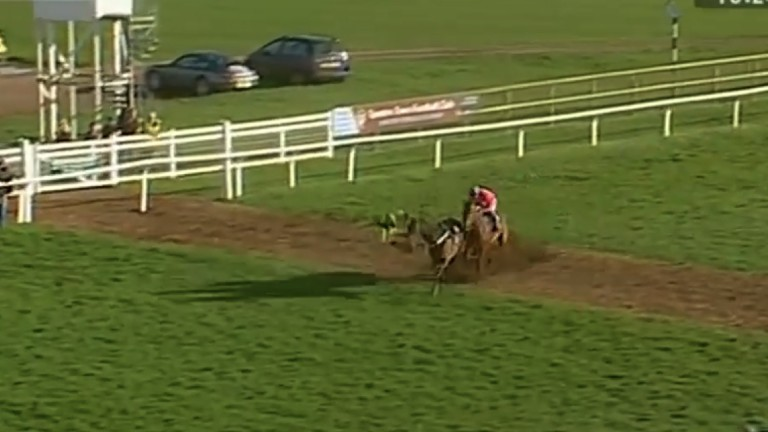 The helpless jockey is sent crashing to the turf as a result of the favourite's sudden jolt