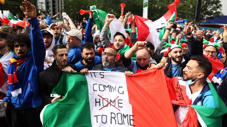 Italy fans gather outside Wembley before the Euro 2020 semi-final against Spain