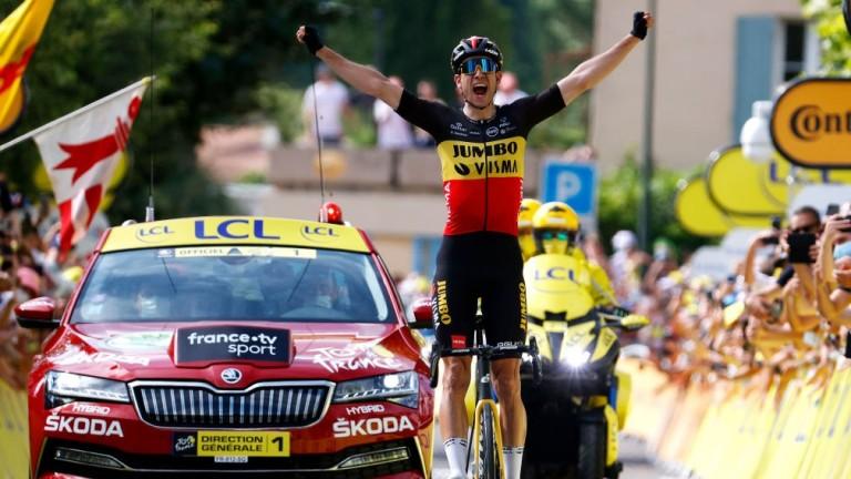 Wout Van Aert of Belgium celebrates conquering Mont Ventoux
