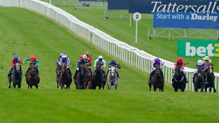 Lady Bowthorpe (second left) came from an unpromising position to finish fourth in the Group 1 Falmouth Stakes