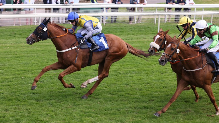 Goobinator (left) scores at York to become Donald McCain's first winner at the track