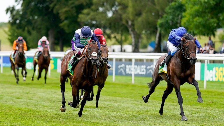 Native Trail (blue silks) lands the Superlative Stakes