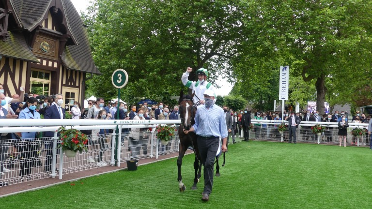 A delighted Olivier Peslier after his win on Laws Of Indices