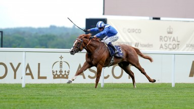Jim Crowley riding Mohaafeth win The Hampton Court Stakes at Royal Ascot