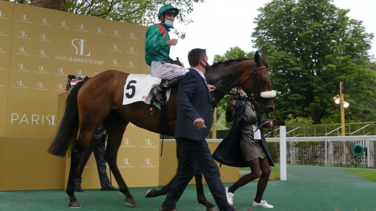 Valia and Christophe Soumillon return to the winners' enclosure after edging out Skazino in the Group 2 Prix Maurice de Nieuil