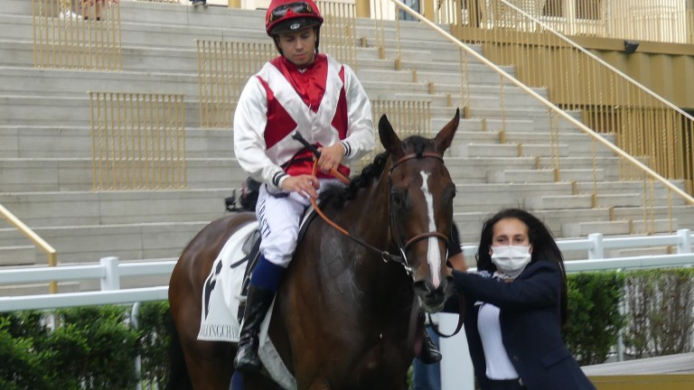 Babylone and Mickael Barzalona after winning the Group 2 Prix de Malleret