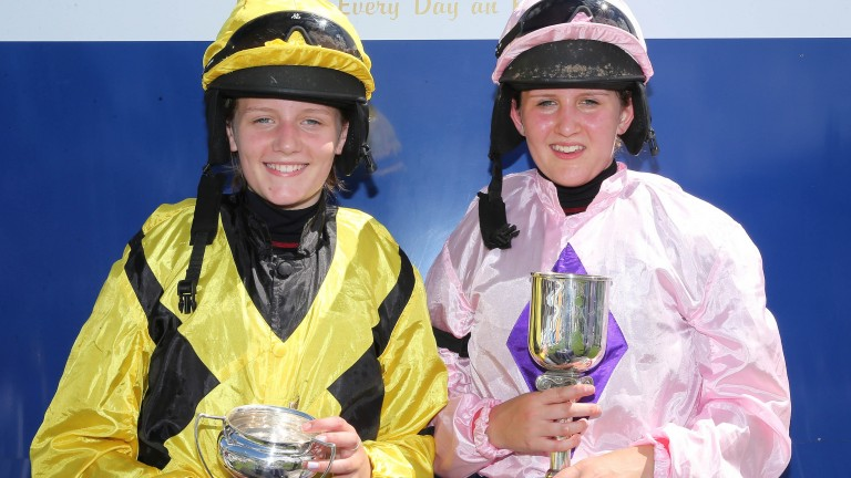 Ella (left) and Abbie McCain after winning pony races at Perth in 2014