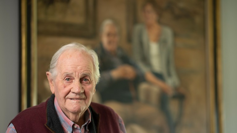 Richard Hannon senior in front of a Katie O'Sullivan portrait of his wife Jo and himself in the owners room at Herridge Racing StablesCollingbourne Ducis , Wiltshire, 16.7.21 Pic: Edward Whitaker