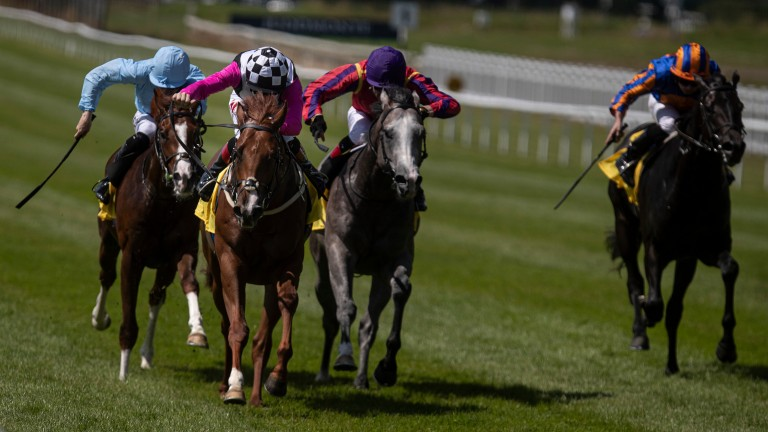Beauty Inspire (check cap) lands the Anglesey Stakes
