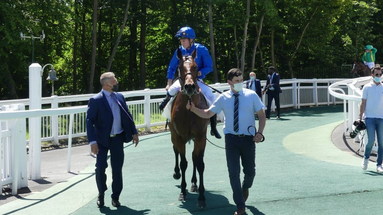 Mickael Barzalona and Victor Ludorum return after winning the Group 3 Prix Messidor