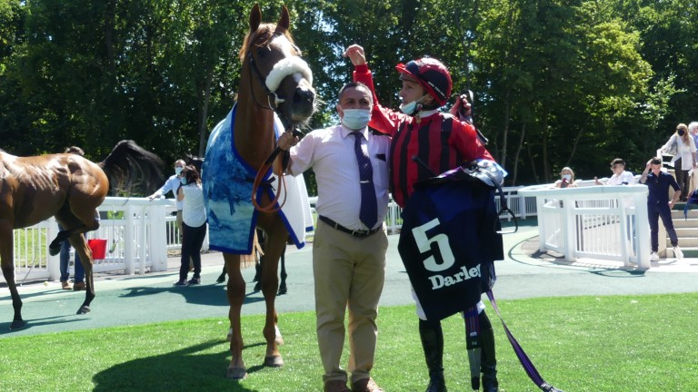 Atomic Force and Stephane Pasquier after victory in the Prix Robert Papin