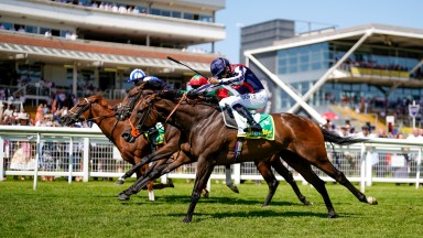 NEWBURY, ENGLAND - JULY 17: Sean Levey riding Happy Romance (dark blue cap) win The bet365 Hackwood Stakes at Newbury Racecourse on July 17, 2021 in Newbury, England. Due to the Coronavirus pandemic, only owners along with a limited number of the paying p
