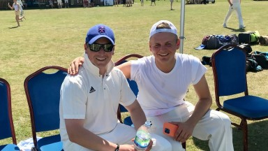 Richard Spencer and George Boughey at the trainers XI versus Newmarket CC cricket match