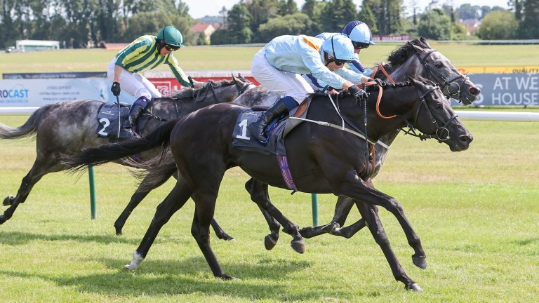 Marie's Diamond (nearside) battles to win the feature handicap by a head