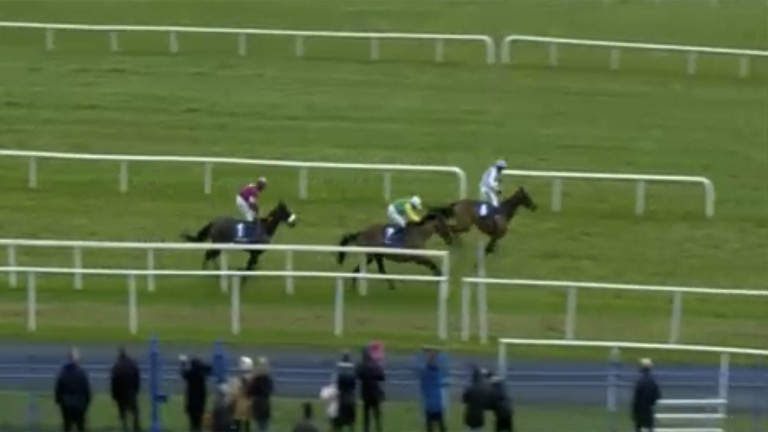 The pair cross the line in front to post a remarkable victory after an unforgettable incident