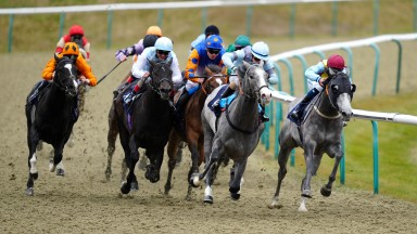 Mighty Power (second right) rounds the bend before scoring at Lingfield in April