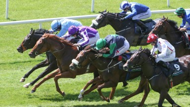 All In The Mind (hooped cap) should improve markedly from a very promising Curragh debut