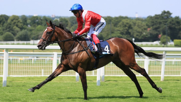 Inspiral points her toe en route to winning the British Stallion Studs EBF Star Stakes at Sandown