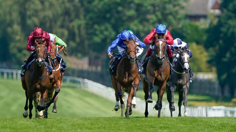 Inspiral (red sleeves, blue cap) comes clear of the field in the Listed Star Stakes