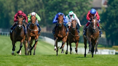 ESHER, ENGLAND - JULY 22: Frankie Dettori riding Inspiral (R, red/blue cap) win The British Stallion Studs EBF Star Stakes at Sandown Park Racecourse on July 22, 2021 in Esher, England. (Photo by Alan Crowhurst/Getty Images)