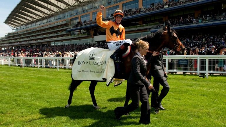 Richard Hughes salutes Canford Cliffs's Royal Ascot hat-trick after the 2011 Queen Anne