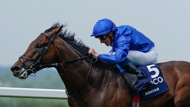 ASCOT, ENGLAND - JULY 24: William Buick riding Adayar win The King George VI And Queen Elizabeth QIPCO Stakes at Ascot Racecourse on July 24, 2021 in Ascot, England. (Photo by Alan Crowhurst/Getty Images)