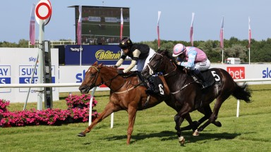 Tommy G (left) holds on under Gianluca Sanna to deny Six Strings at Musselburgh