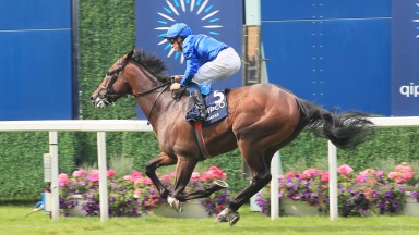 Adayar and William Buick cross the line to win the King George VI and Queen Elizabeth Qipco Stakes at Ascot