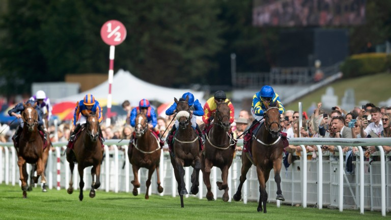 Trueshan (right) stayed on best to win the Goodwood Cup under Hollie Doyle on Tuesday