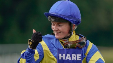 CHICHESTER, ENGLAND - JULY 27: A delighted Hollie Doyle after riding Trueshan to win The Al Shaqab Goodwood Cup Stakes during the Qatar Goodwood Festival at Goodwood Racecourse on July 27, 2021 in Chichester, England. (Photo by Alan Crowhurst/Getty Images