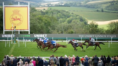 Kinross (Rossa Ryan) win the Lennox Stakes from Creative Force and Happy PowerGoodwood 27.7.21 Pic: Edward Whitaker