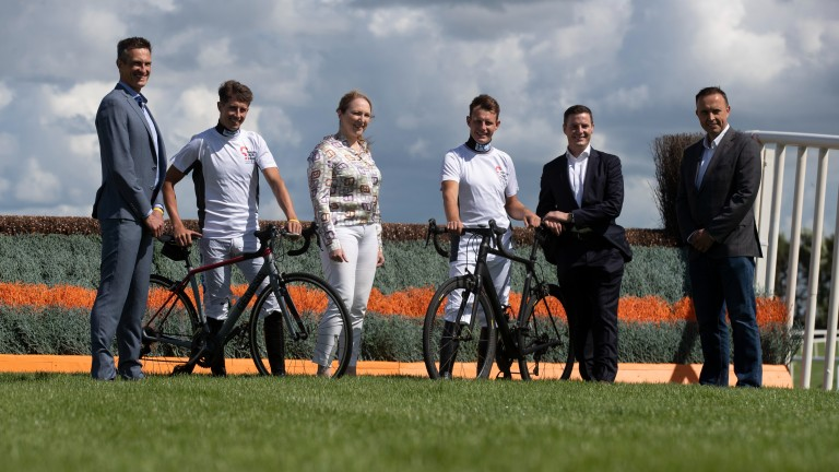 Some of the racing professionals taking part in the charity cycle in memory of Pat Smullen