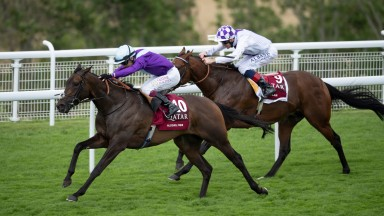 Alcohol Free comes away from Poetic Flare to win the Group 1 Sussex Stakes at Goodwood