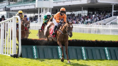 Annie G and Darragh O'Keeffe jump when winning the Tote Placepot Pays More Novice Hurdle (Listed). Galway Festival day 3.Photo: Patrick McCann/Racing Post28.07.2021
