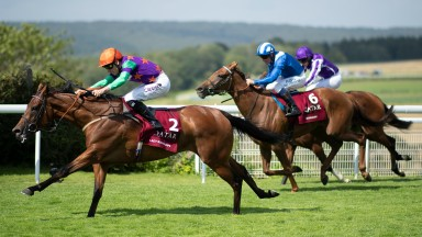 Lady Bowthorpe  wins the Nassau Stakes from Zeyaadah and Joan Of ArcGlorious Goodwood 29.7.21 Pic: Edward Whitaker