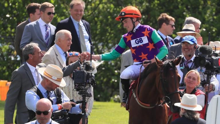 Lady Bowthorpe's trainer William Jarvis greets jockey Kieran Shoemark after the Nassau