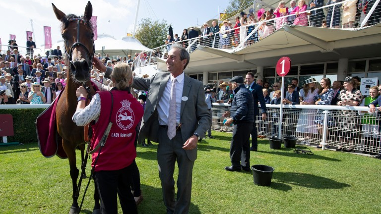 William Jarvis greets Lady Bowthorpe after her victory in the Nassau Stakes