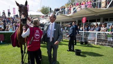 Lady Bowthorpe and William Jarvis after the Nassau Stakes Glorious Goodwood 29.7.21 Pic: Edward Whitaker