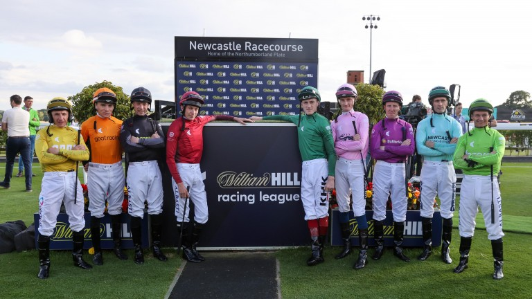 Jockeys pose ahead of the first meeting of the Racing League at Newcastle