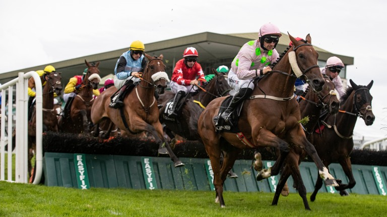 Saldier and Patrick Mullins on their way to victory in the Galway Hurdle
