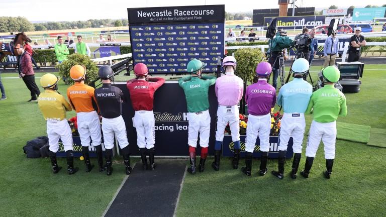 The jockeys show off their Racing League silks at Newcastle