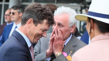 A wry smile from trainer Andrew Balding and amazement from owner Jeff Smith after Alcohol Free captures the Sussex Stakes