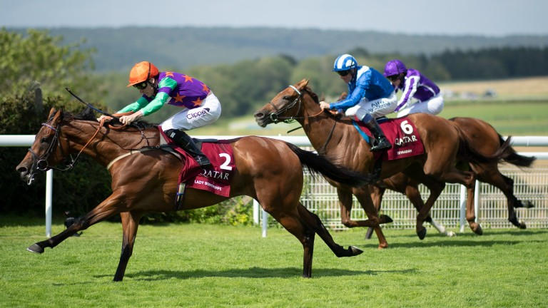 Lady Bowthorpe in full flight in the Nassau Stakes