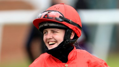 RIPON, ENGLAND - MAY 16: Jockey Elle-may Croot at Ripon Racecourse on May 16, 2021 in Ripon, England. (Photo by Mike Egerton - Pool/Getty Images)