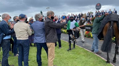 Rider Conor McNamara with the winning Whitegrass Racing Syndicate after Jazzaway's victory
