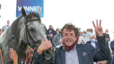 Galway Tues 27 July 2021 Sirjack Thomas with Ado McGuinness after winning The Colm Quinn BMW Mile Handicap, the trainer's third winner of this race Photo.carolinenorris.ie