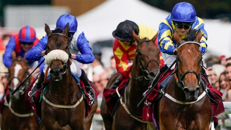 Away He Goes (left): chased home Trueshan in the Goodwood Cup on Tuesday