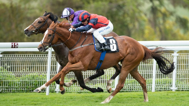 Prince Alex (far side) is a narrow winner at Goodwood on Saturday having just switched from Ralph Beckett to Michael Bell