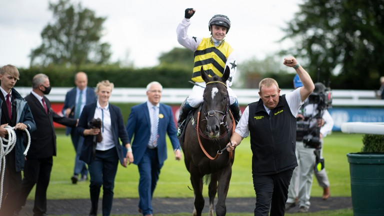 Connor Beasley celebrates Stewards' Cup success at Goodwood